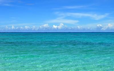 The view from Tepuka back across the lagoon to Fongafale, Funafuti Atoll, Tuvalu