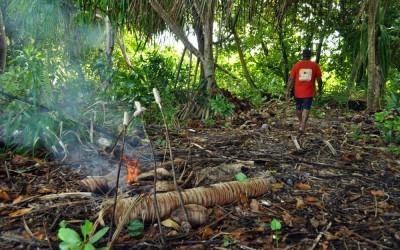 Cooking our lunch on Tepuka Island, Funafuti Atoll, Tuvalu